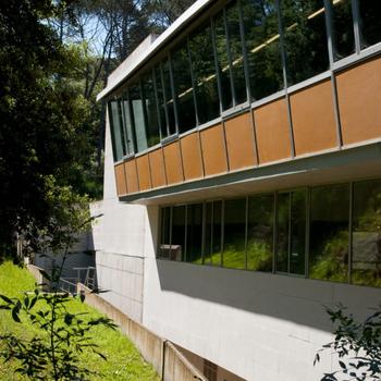 La Universitat de Girona es troba proper a un espai natural de gespa i zona boscosa.