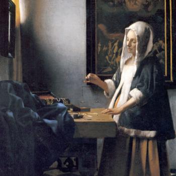 'Johannes Vermeer, La tasadora de perlas (Mujer sosteniendo una balanza)'